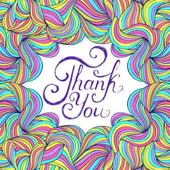 Vetorial, ilustração, de, coloridos, obrigado, cartão, desenho