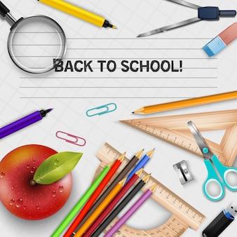 Vetorial, ilustração, de, costas, para, escola, cartaz