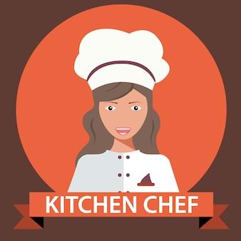 Vetorial, ilustração, de, cozinha, cozinheiro