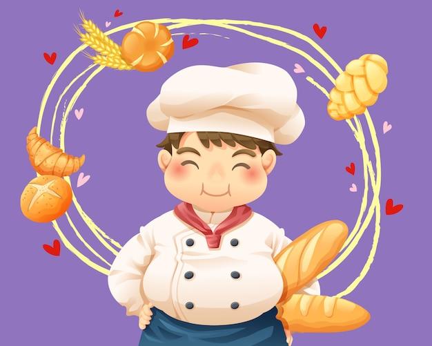 Vetorial, ilustração, de, cozinheiro pastel
