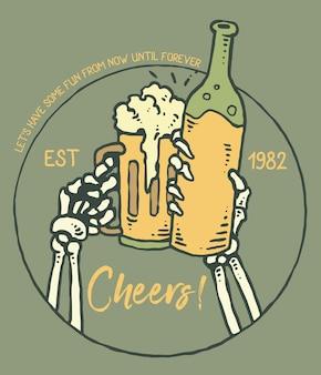 Vetorial, ilustração, de, cranio, mão, cheers