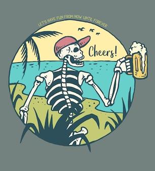 Vetorial, ilustração, de, cranio, segurando, um, vidro cerveja
