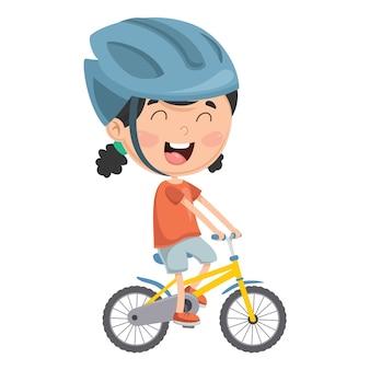 Vetorial, ilustração, de, criança, montando, bicicleta
