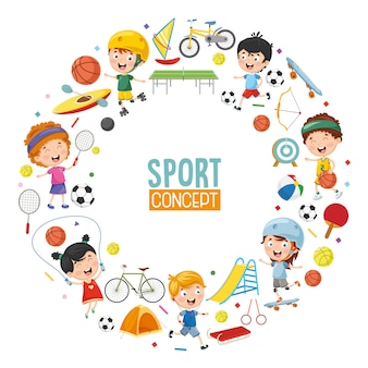 Vetorial, ilustração, de, crianças, esportes, conceito, desenho