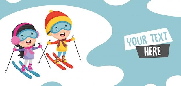 Vetorial, ilustração, de, crianças, esquiando