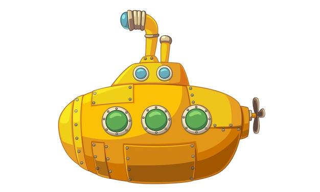 Vetorial, ilustração, de, cute, amarela, submarino