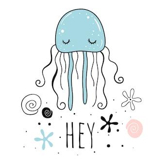 Vetorial, ilustração, de, cute, jellyfish