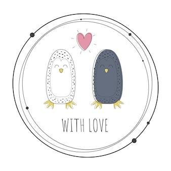 Vetorial, ilustração, de, cute, pingüins