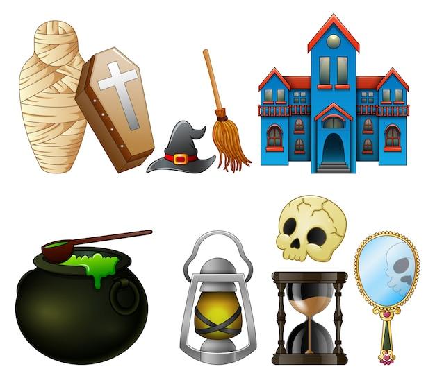 Vetorial, ilustração, de, dia das bruxas, símbolos, cobrança