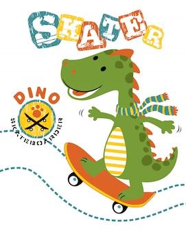 Vetorial, ilustração, de, dinossauro, caricatura, a, skateboarder