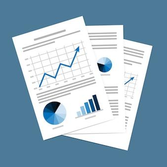 Vetorial, ilustração, de, documentos negócio