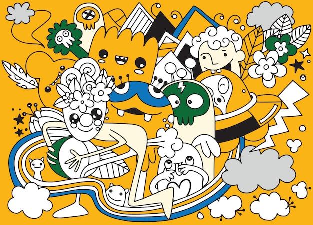 Vetorial, ilustração, de, doodle, cute, monstro