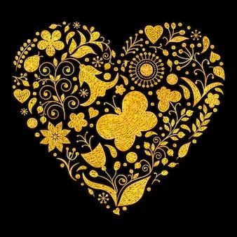 Vetorial, ilustração, de, dourado, floral, valentines, coração