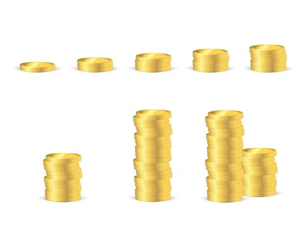 Vetorial, ilustração, de, dourado, moedas