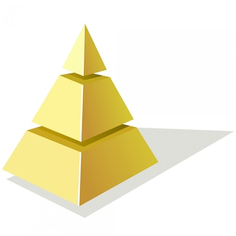 Vetorial, ilustração, de, dourado, pirâmide, ligado, um, fundo branco