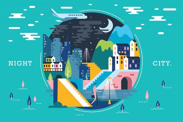 Vetorial, ilustração, de, ecossistema, cidade