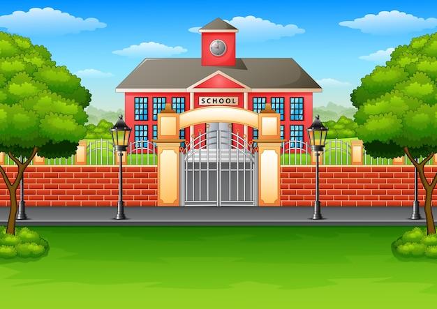Vetorial, ilustração, de, edifício escola, e, gramado verde