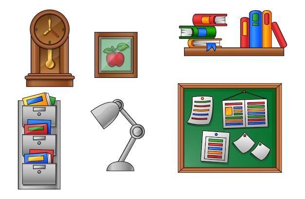 Vetorial, ilustração, de, educação, e, escola, ícone, jogo