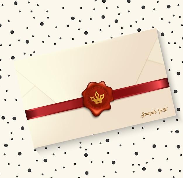 Vetorial, ilustração, de, envelope, com, vermelho, lacre cera
