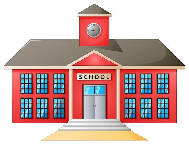 Vetorial, ilustração, de, escola alta, modernos, predios