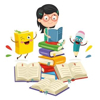Vetorial, ilustração, de, escola, elementos