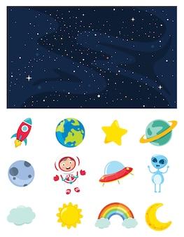 Vetorial, ilustração, de, espaço, elementos