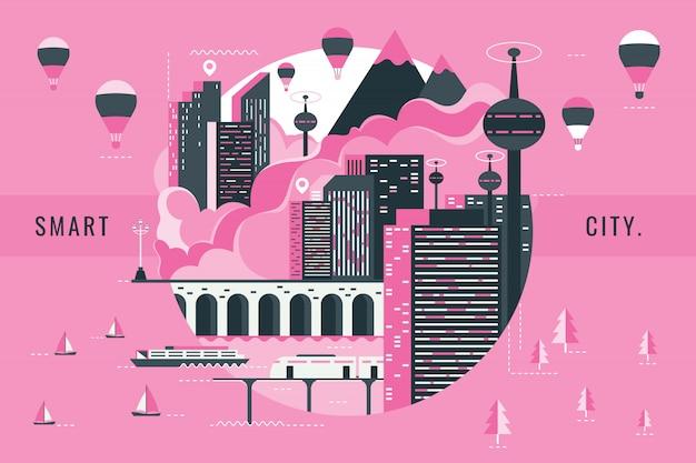 Vetorial, ilustração, de, esperto, cidade