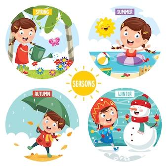 Vetorial, ilustração, de, estações
