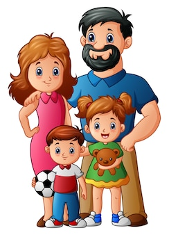 Vetorial, ilustração, de, feliz, família, caricatura