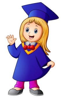 Vetorial, ilustração, de, feliz, graduação, menina, caricatura
