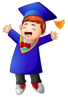 Vetorial, ilustração, de, feliz, graduação, menino, caricatura