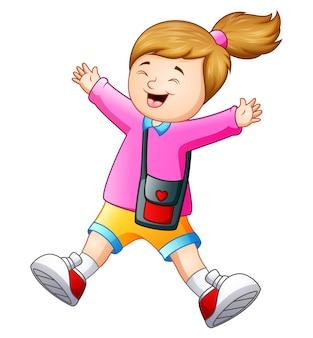 Vetorial, ilustração, de, feliz, menina escola, caricatura