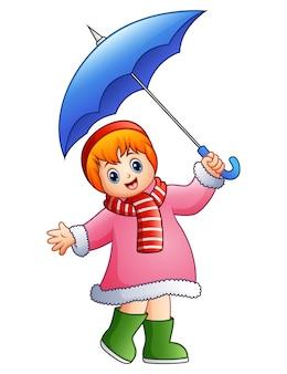 Vetorial, ilustração, de, feliz, menina, sob, guarda-chuva