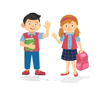 Vetorial, ilustração, de, feliz, par estudante, estudante, e, schoolgirl