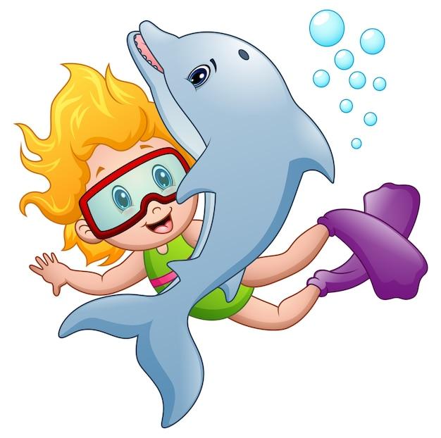 Vetorial, ilustração, de, feliz, snorkeling, menina, com, um, golfinho