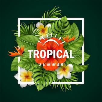 Vetorial, ilustração, de, flores tropicais, e, folhas