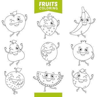 Vetorial, ilustração, de, frutas, coloração, página