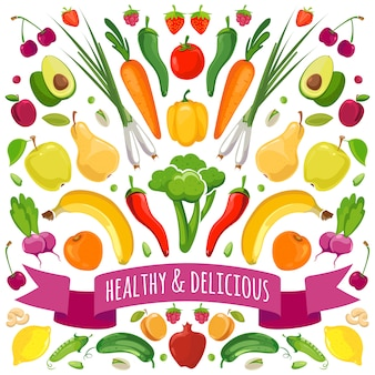 Vetorial, ilustração, de, frutas legumes