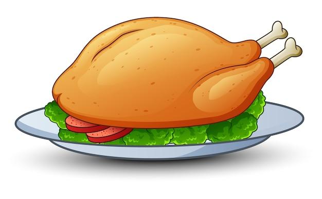 Vetorial, ilustração, de, galinha assada, ligado, platter