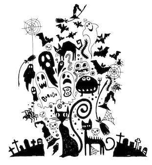 Vetorial, ilustração, de, hand-drawn, dia das bruxas, doodles Vetor Premium