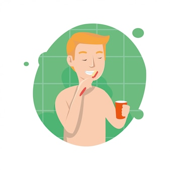 Vetorial, ilustração, de, homem, dentes escovando