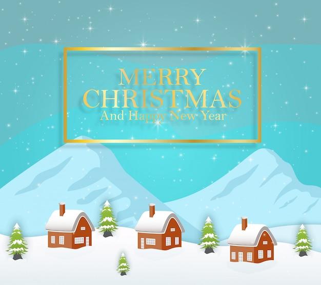 Vetorial, ilustração, de, inverno, noturna, paisagem, com, experiência azul, um, neve coberta, cabana