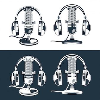 Vetorial, ilustração, de, isolado, retro, e, vindima, microfone