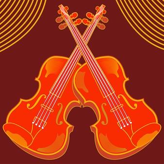 Vetorial, ilustração, de, isolado, violino
