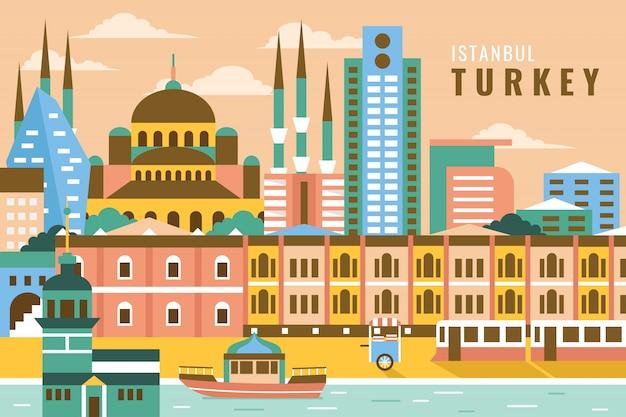 Vetorial, ilustração, de, istambul, peru