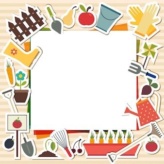 Vetorial, ilustração, de, jardinagem, elementos