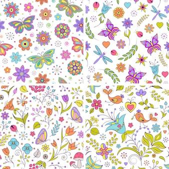 Vetorial, ilustração, de, jogo, com, floral, padrões