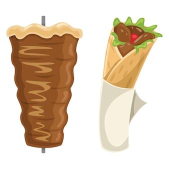 Vetorial, ilustração, de, kebab