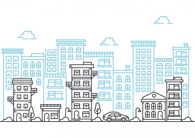 Vetorial, ilustração, de, linha cidade