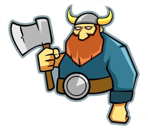 Vetorial, ilustração, de, machado, guerreira